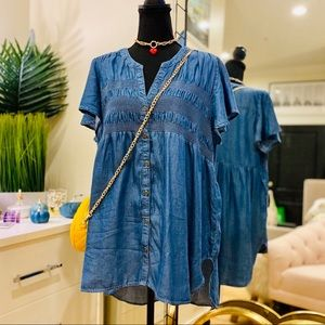 Knox Rose Denim Smocked Button Down Tunic